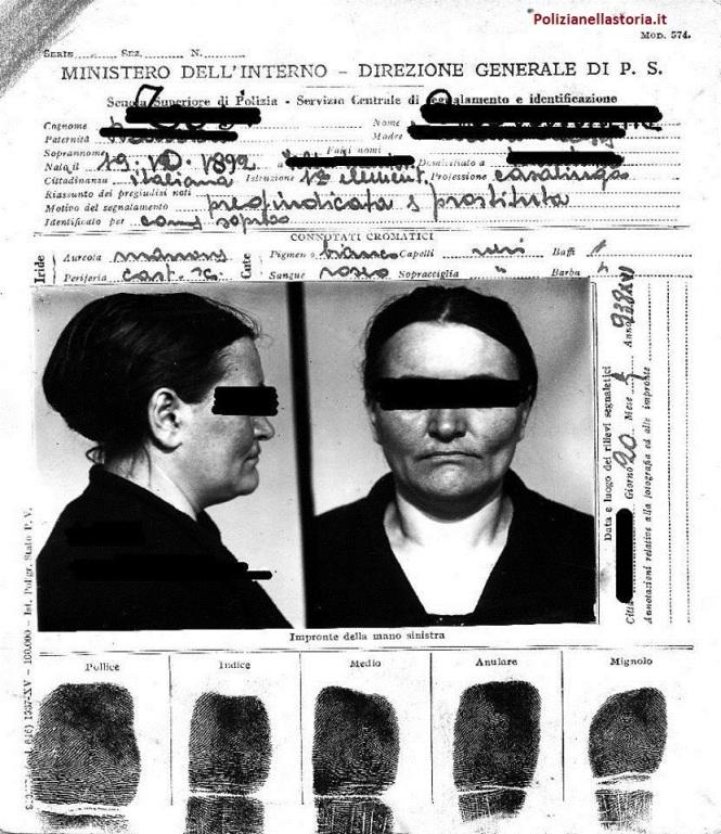 SCIENT 1938 cartellino fotodattiloscopico